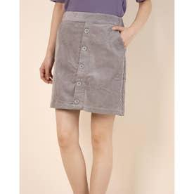 前ボタンコーデュロイ台形スカート (Gray)