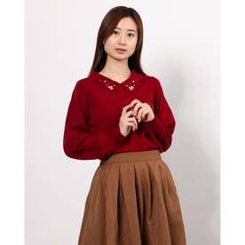 衿ビジュー付きニットプルオーバー (Red)