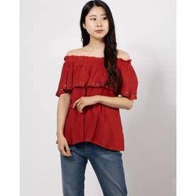 刺繍オフショルプルオーバー (RED)