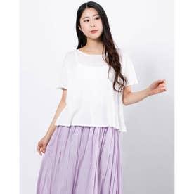 FURRYRATE かぎ針バック切替ニットTシャツ (Off White)