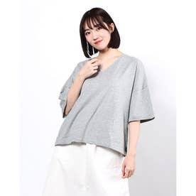 BIGシルエットVネックTシャツ (Gray Mixture)