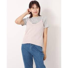 ニットキャミソール+Tシャツセット (Pink Beige)