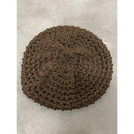 麻混ニットベレー帽 (BROWN)