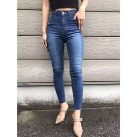裾カットオフBasicスキニーパンツ (BLUE)