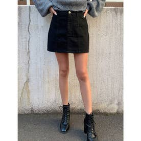 切替デザインカラーツイルスカート (BLACK)