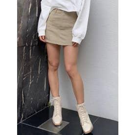 切替デザインカラーツイルスカート (BEIGE)
