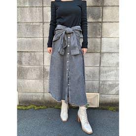 シャツライクデニムロングスカート (BLACK)