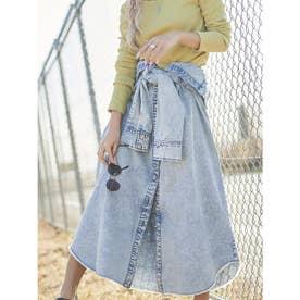 シャツライクデニムロングスカート (BLUE)
