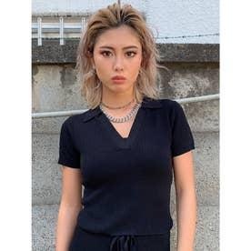 衿付半袖ニットTOP (BLACK)