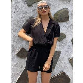 ジャケット衿オールインワン (BLACK)