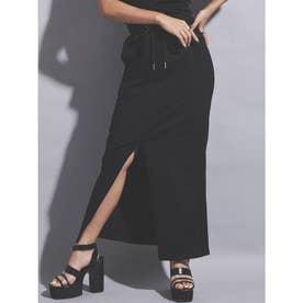 サイドリブロングスカート (BLACK)