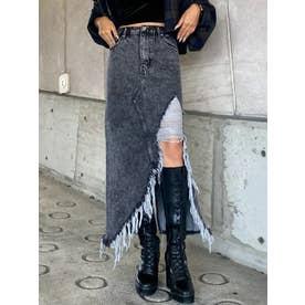 ケミカルデニムロングスカート (BLACK)
