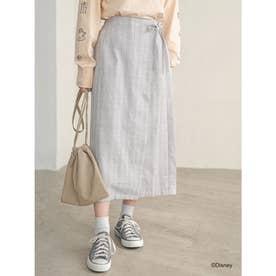 チェック巻きスカート (Gray Beige)
