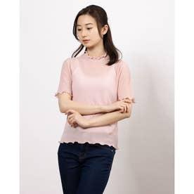 半袖シースルーカットソー (Pink)