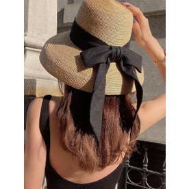 Long Ribbon Casablanca hat (BEIGE)