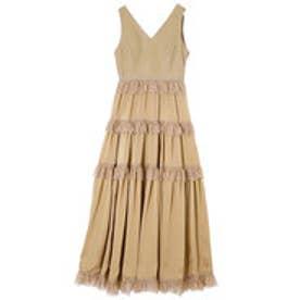 High line leather docking dress (BEIGE)
