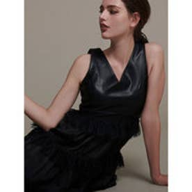 High line leather docking dress (BLACK)