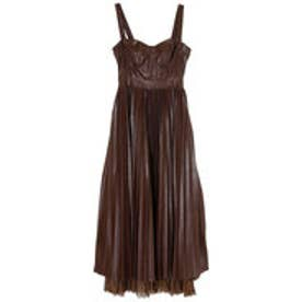 【Feminity】 leather preated dress (BROWN)