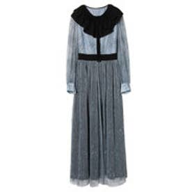 【Feminity】 lace pleats dress (BLUE)