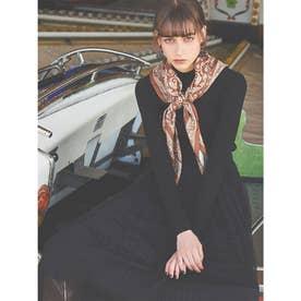 スカーフ付きリブニットプルオーバー (BLACK)