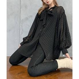 フロッキードットリボンオーバーシャツ (BLACK)