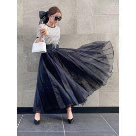 ランダムプリーツシアーボリュームスカート (BLACK)
