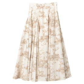 Hailey pattern ボリュームフレアースカート (BEIGE)