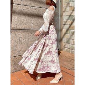 Hailey pattern ボリュームフレアースカート (PINK)