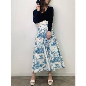 Hailey pattern ボリュームフレアースカート (BLUE)