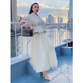 hybrid leather tulle spring coat (IVORY)