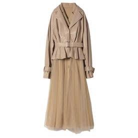 hybrid leather tulle spring coat (BEIGE)