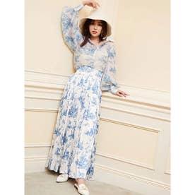 Hailey pattern サテンプリーツスカート (BLUE)