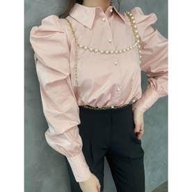 ボリュームパフスリーブシャツ (PINK)