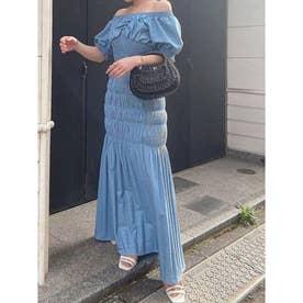デニムシャーリングマーメードスカート (ICE BLUE)