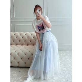 チュールドッキングデニムストレートスカート (LIGHT BLUE)
