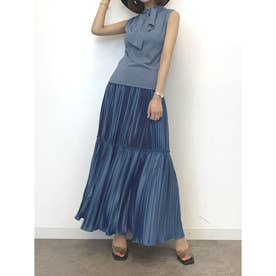 プリーツスカートSET ネックポイントニット (BLUE)