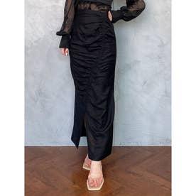 リネンギャザーペンシルスカート (BLACK)