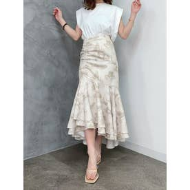 Paris pattern アシンメトリーギャザーマーメイドスカート (BEIGE)