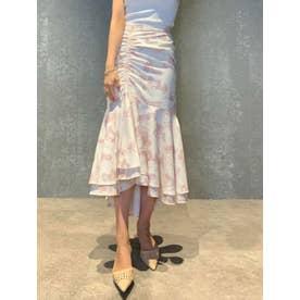 Paris pattern アシンメトリーギャザーマーメイドスカート (PINK)
