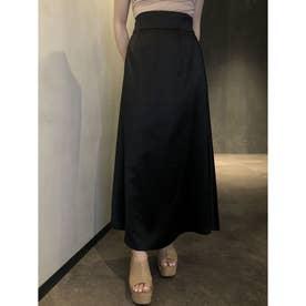シンプルサテンスカート (BLACK)