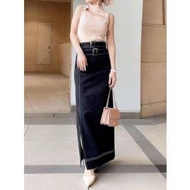 ステッチポイントストレートスカート (BLACK)