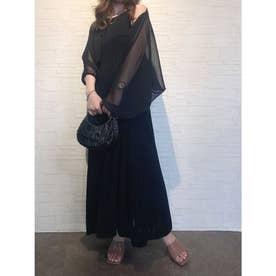 シアーボレロオープンバックニットドレス (BLACK)