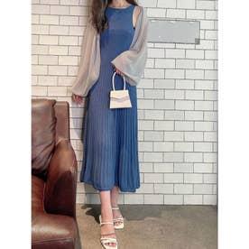 シアーボレロオープンバックニットドレス (BLUE)