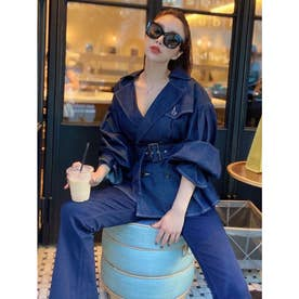 デニムぺプラムトレンチジャケット (BLUE)