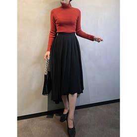 アシメボリュームバックロングスカート (BLACK)