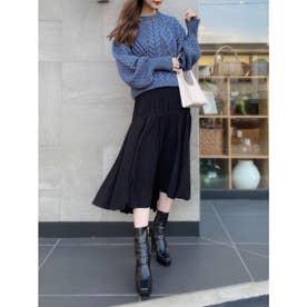プリーツアシメボリュームフレアースカート (BLACK)