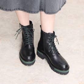 ELVIOZANON for nouer ラインアクセントレースアップブーツ(green) (ブラック)