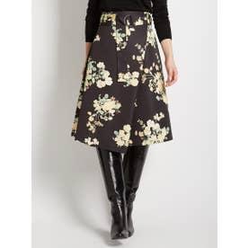 総柄プリント 巻きスカート (BLACK)