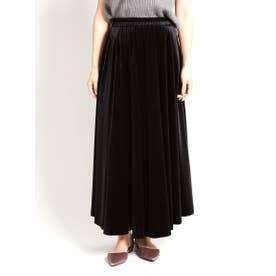 ベロアマキシ丈キュロットPT (BLACK)