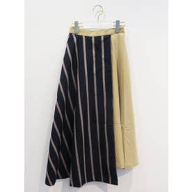 layered stripe flare skirt (navy)